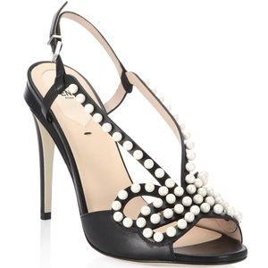 NWT FENDI Faux Pearl-Embellished Sandals